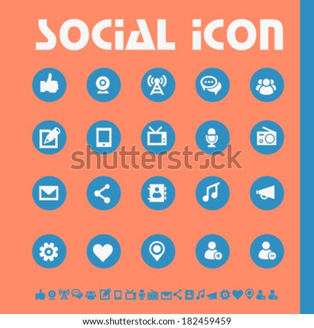 Modern flat design social icons, bright on circles - stock vector
