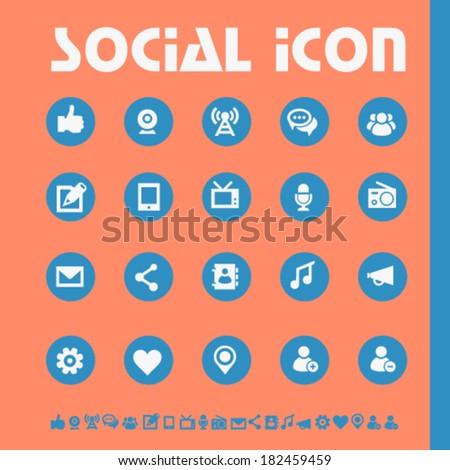 Modern flat design social icons, bright on circles - stock vector