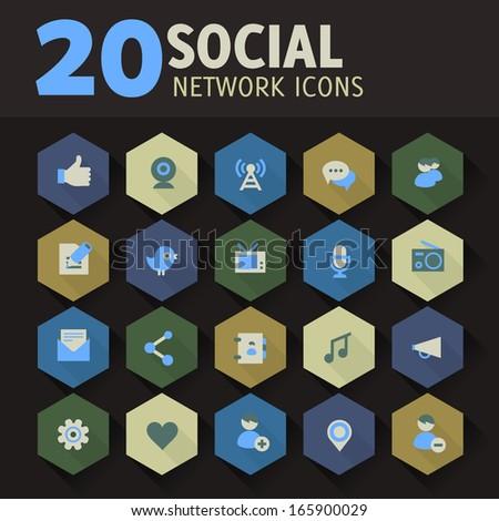 Modern flat design social network icons on hexagon buttons - stock vector