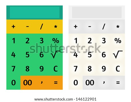 Modern flat design style mobile calculator. Set of two variants, colorful and pastel. Vector background