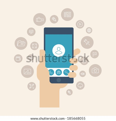 Modern flat design style vector illustration concept of hand holding smartphone with multimedia apps icons and mobile user interface on the phone screen. Isolated on stylish color background. - stock vector