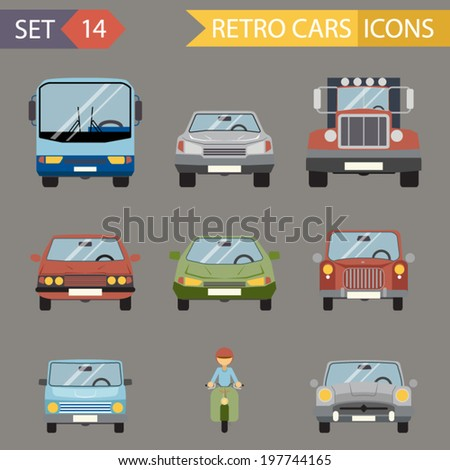Modern Flat Design Symbols Stylish Retro Car Icons Set Isolated on Grey Background Vector Illustration - stock vector