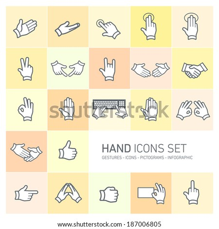 modern flat design vector hand icons and pictograms set isolated on colorful yellow and orange background