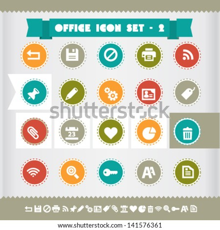 Modern flat design vintage office and web icons set 2, on circles - stock vector