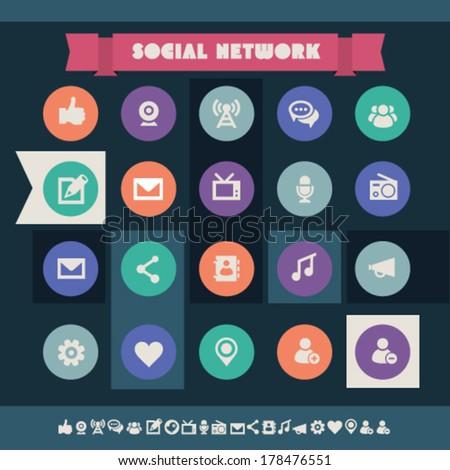 Modern flat design vintage social icons, on circles - stock vector