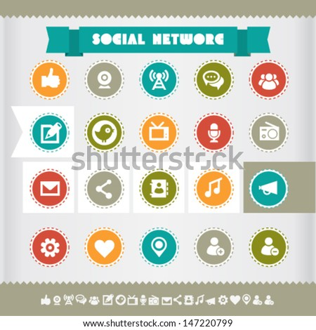 Modern flat design vintage social network icons, on circles - stock vector
