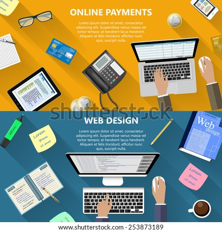 Modern flat design web design and online payments concept for e-business, web sites, mobile applications, banners, corporate brochures, book covers, layouts etc. Vector eps10 illustration - stock vector
