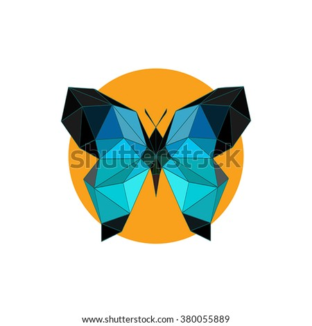 Modern flat design with origami blue butterfly icon isolated on white background