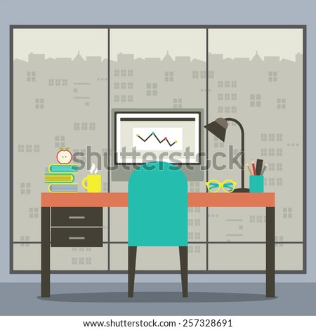 Modern Flat Design Workplace With Skyscraper View Vector Illustration - stock vector