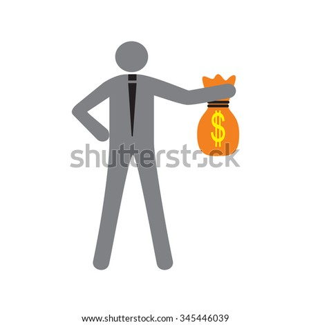 Modern flat icon man with bag of money - stock vector