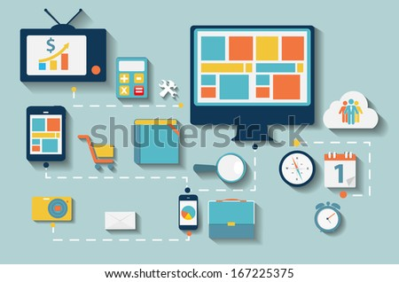 Modern Flat Icon Set for Web and Mobile Application With Computer and Connected Mobile Devices in Stylish Colors Vector illustration. - stock vector