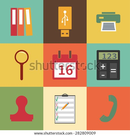 Modern flat icon stationery set. Binders, printer icon, fax, usb flash drive, magnify icon, loupe, lupa, event icon,  calendar page, calculator, handset  phone, stamp, clipboard - stock vector