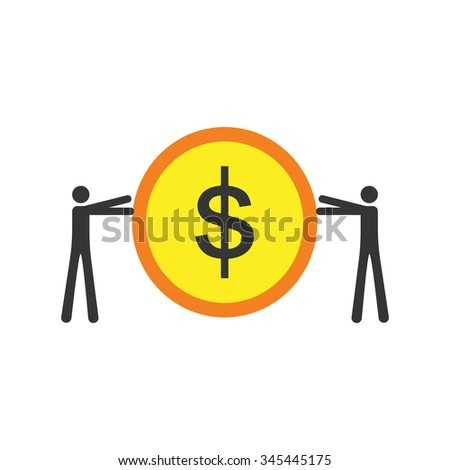 Modern flat icon stylish coin and people - stock vector