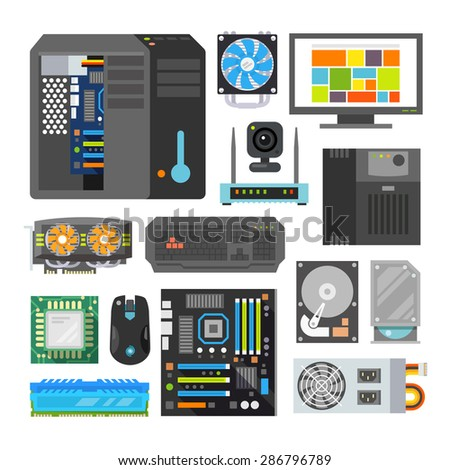 Modern flat icons set. PC components. Computer store. Assembling a Desktop Computer. - stock vector