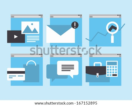 Modern flat icons vector collection in simple window browser of web business communication and financial item and service using internet support. Isolated on stylish colored background  - stock vector