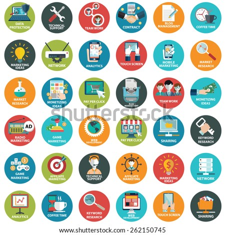 Modern flat icons vector collection  in stylish colors of web design objects, business, office and marketing items. - stock vector