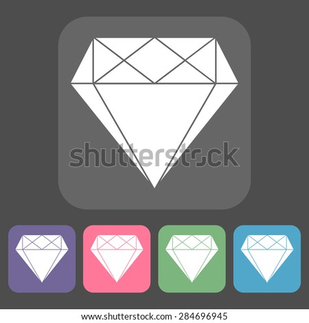 Modern flat icons vector collection of diamonds elements