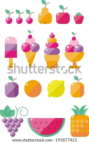 modern flat icons vector collection with ice cream and fruits - stock vector