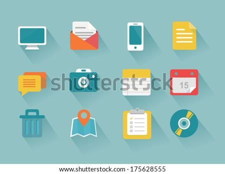 Modern flat icons vector collection with long shadow effect in stylish colors of web design objects, business, office and marketing items. Isolated on blue background. - stock vector