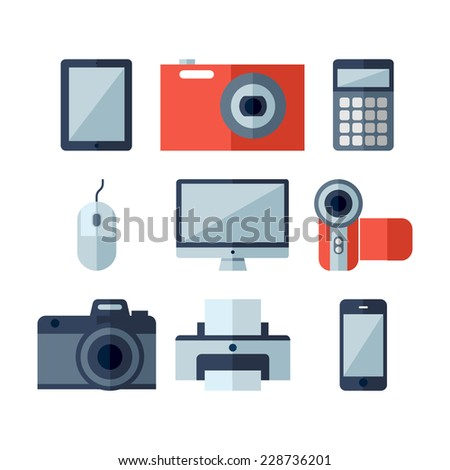 Modern flat icons vector illustration collection of multimedia symbols, photo and video items and objects. Isolated on white background. - stock vector