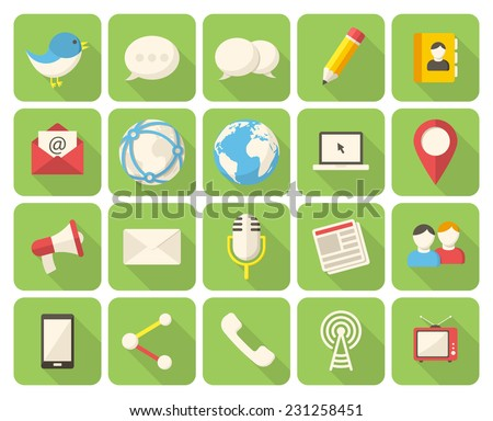Modern flat icons with long shadow - stock vector