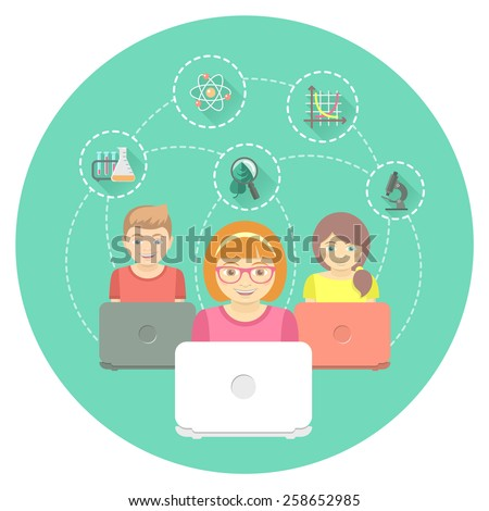 Modern flat illustration of group of kids with laptops and educational icons in a circle. Online education concept. Conceptual banner or emblem - stock vector