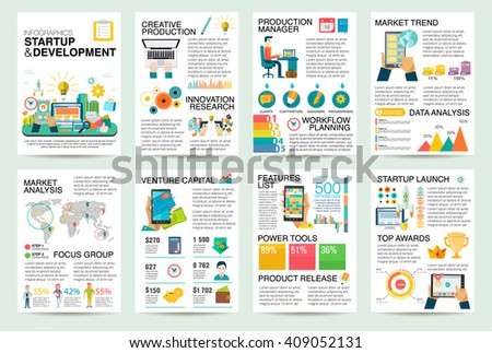 Modern flat Infographics of startup business and launch new product on market. Use in website, corporate report, presentation, advertising, marketing, background, banner, diagram, brochure template. - stock vector