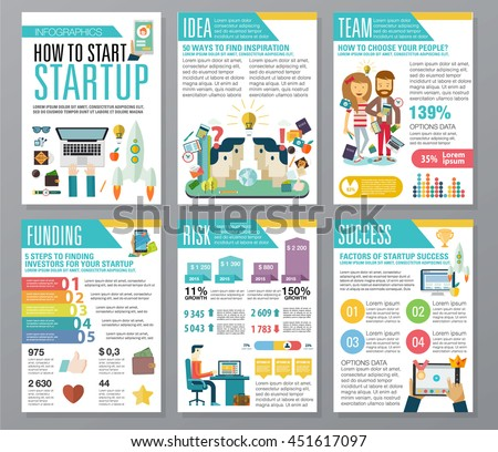 modern flat infographics startup business launch stock vector