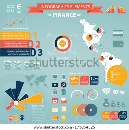 Modern flat infographics set. America Map and Information Graphics with finance icons. Easy to edit - stock vector