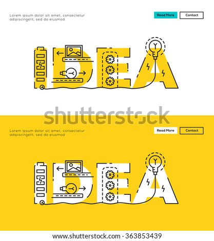 Modern Flat line design concept of Big Idea and Idea Process. Flat line design for Website Element , Web Template, Web Banner , Book Cover and Corporate documents. - stock vector