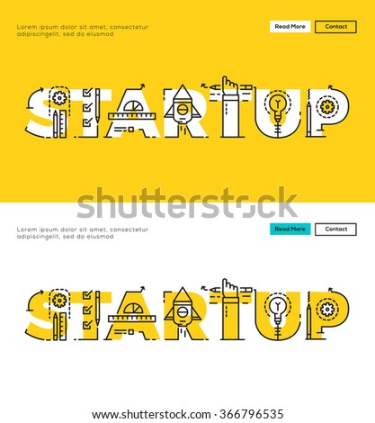 Modern Flat line design concept of Idea Startup and Business Startup. Flat line design for Website Element ,Web Template , Web Banner , Book Cover and Corporate documents. - stock vector