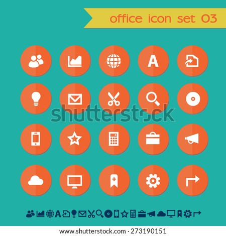 Modern flat material office icons, set 3 - stock vector