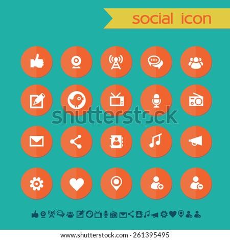 Modern flat material social icons - stock vector
