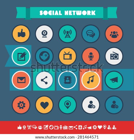 Modern flat material social icons on colored circles - stock vector