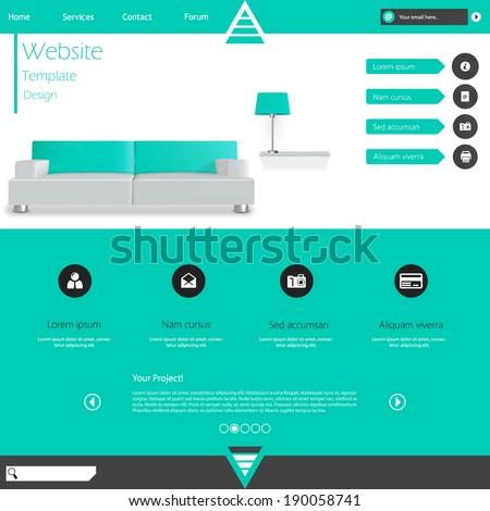 Modern Flat Minimalistic Website Template Vector Eps10  - stock vector