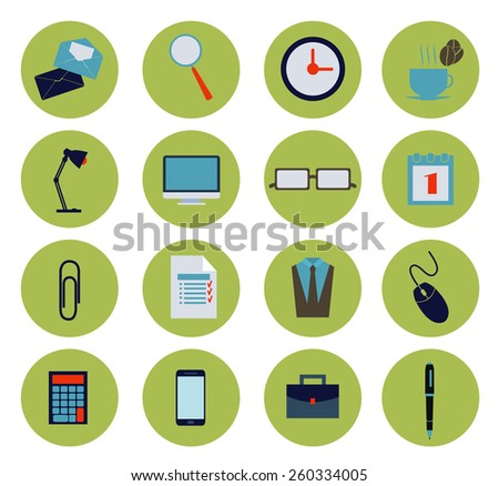 Modern flat office icons vector collection, business elements, office equipment and marketing items  - stock vector