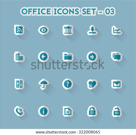 Modern flat paper office icons, set 3