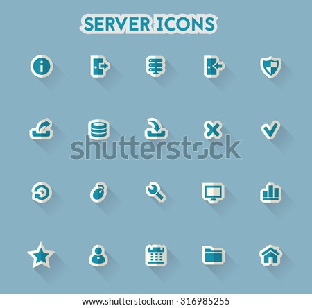 Modern flat paper server icons