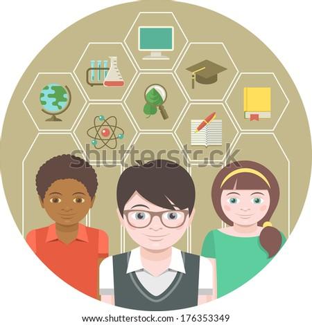 Modern flat round illustration of children with different school symbols - stock vector