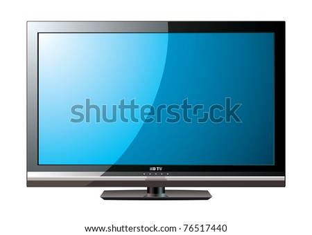 Modern flat screen television with blue monitor - stock vector