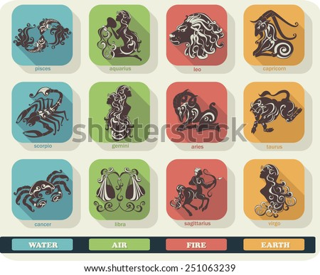 Modern flat set icons of zodiac signs with long shadow effect. Vector collection of astrology horoscope symbols. - stock vector