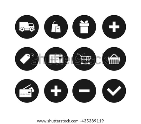 Modern flat shopping black silhouette web icons vector set in stylish colors of shopping objects and items. Isolated on white background shopping web icons. Shopping web icons store basket cart money - stock vector