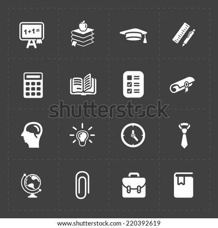Modern flat social icons set on dark background - stock vector