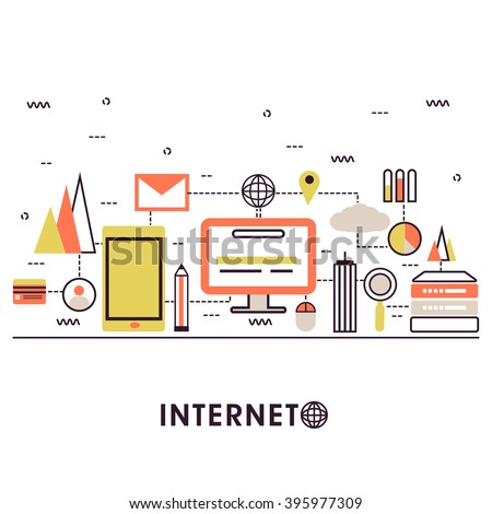 Modern flat style illustration of internet of things data technology, network infrastructure of connecting everything.Can be used as web banner, hero image and website slider. - stock vector