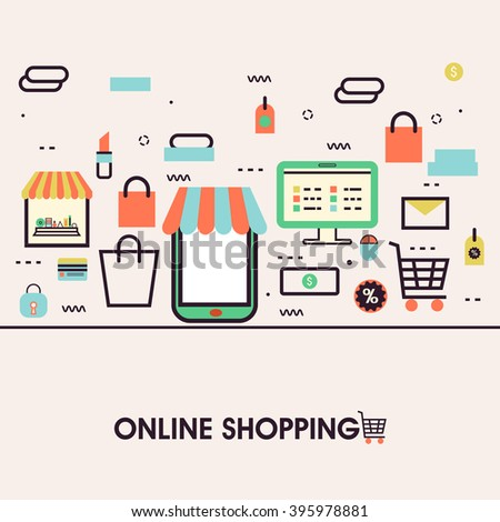 Modern flat style illustration of online shopping on mobile phone, purchasing goods on smartphone screen. Can be used as web banner, hero image and website slider. - stock vector