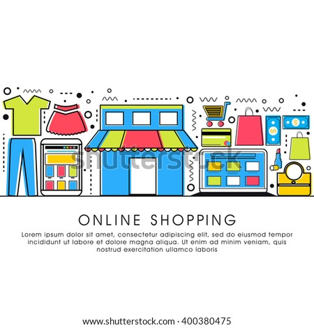 Modern flat style illustration with thin line icons of Online Shopping process, Internet Merchant Marketplace, Customer Order Delivery. One page Web Design template, Hero Image concept.. - stock vector