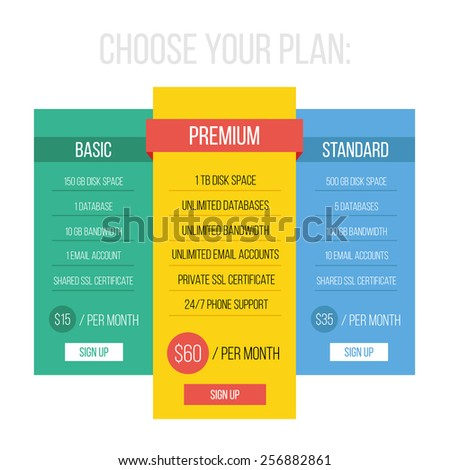 Modern flat style pricing table template. Creative vector illustration. Awesome red, blue, yellow white and green color scheme. Isolated on white background. - stock vector