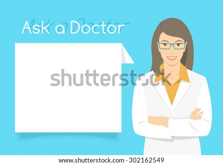 Modern flat stylized vector illustration of smiling young attractive friendly looking female doctor consultant standing with arms crossed opposite information dialog box. Online consultation concept - stock vector