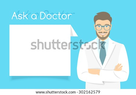 Modern flat stylized vector illustration of smiling young attractive friendly looking male doctor consultant standing with arms crossed opposite information dialog box. Online consultation concept - stock vector