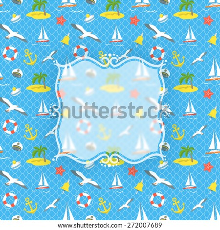 Modern flat vector blurred emblem on the conceptual sea voyage traveling background. Hand drawn sticker with space for logo on backdrop of nautical icons. Summer vacation traveling design - stock vector